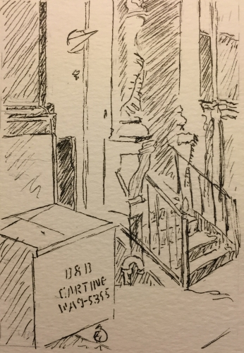 Pen and Ink : Carting Dumpster and Staircase