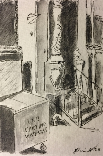 Watercolor/Pen and Ink : Carting Dumpster and Staircase with Gray Wash