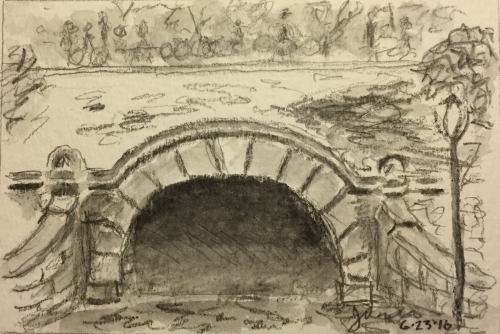 Watercolor: Grayscale Wash Sketch of Central Park Tunnel