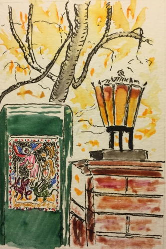 Watercolor, Pen and Ink: Lamp Post and Book Stall, Central Park, NYC