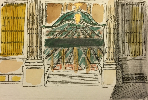 Watercolor Pen and Ink: One of the Doors to the Former B. Altman