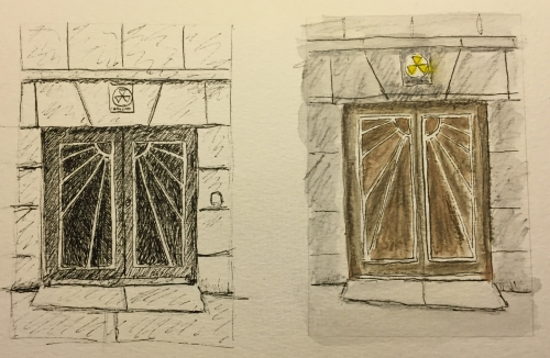 Sketches: Doors with Sunrise Pattern, Upper West Side, NYC