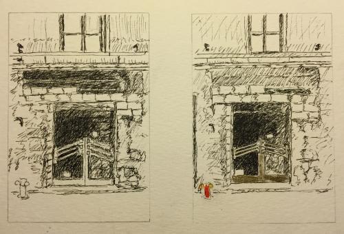 Pen and Ink: Sketch of Door Amidst Construction