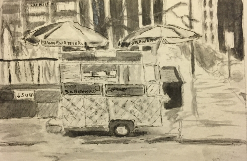 Watercolor: Frankfurter Stand in Grayscale