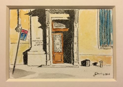 Watercolor and Pen and Ink Sketch: Provident Loan Society Door