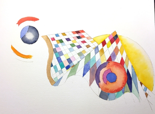 Watercolor: Abstract with Grids and Circles