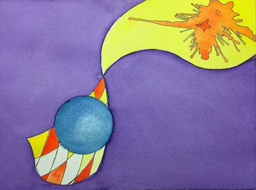 Watercolor: Abstract with Sphere and Curved Triangles