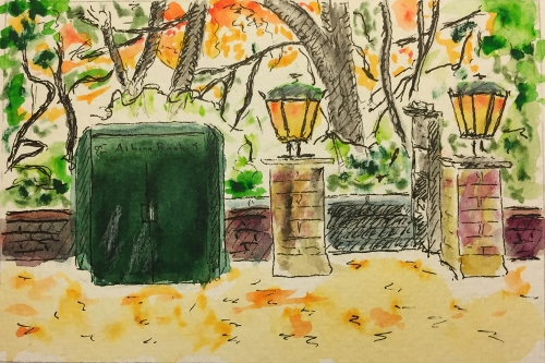 Watercolor, Pen and Ink: Albion Book Kiosk at Central Park