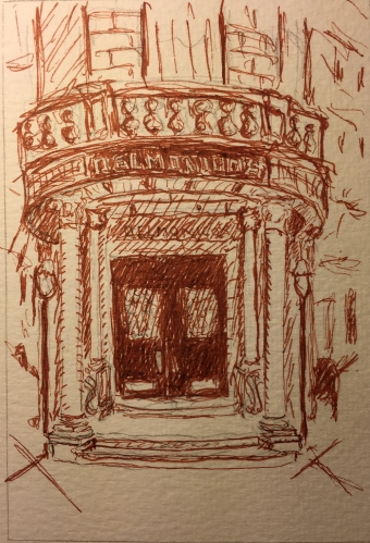 Pen and Ink: Quick Sketch of Doors of Delmonico's on Williams St