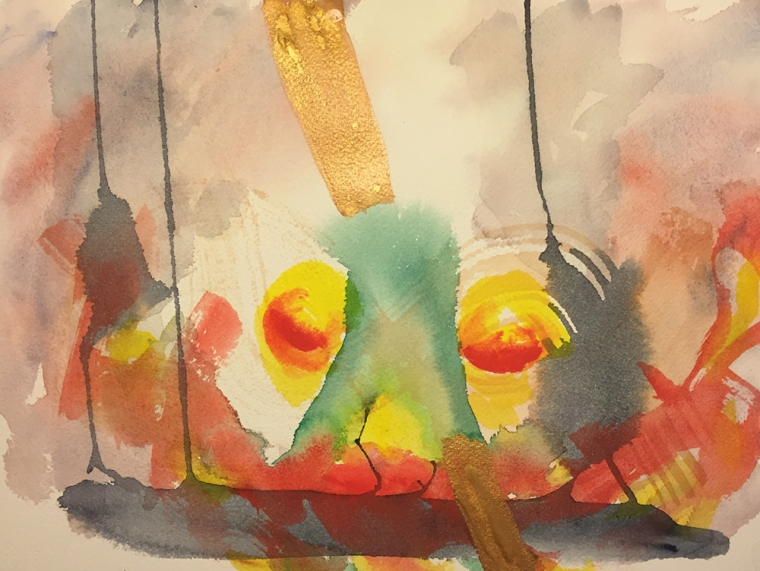 Watercolor: Abstract - Speared Dragon Head