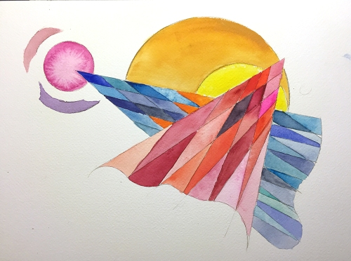 Watercolor: Abstract with Harlequin Pattern