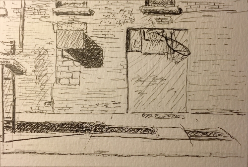 Pen and Ink: Basketball Hoop and Long Shadows