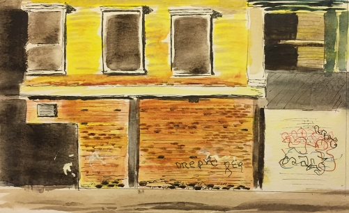 Watercolor, Pen and Ink: Sunlit Building