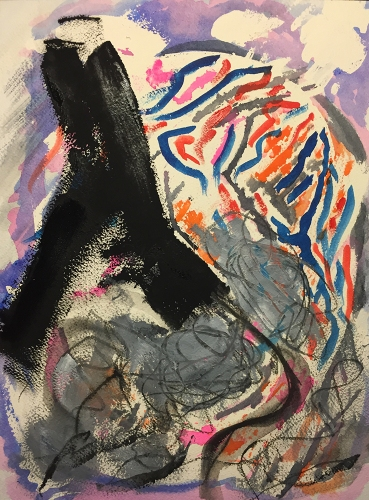 Watercolor: Abstract Expressionistic Lung Cancer