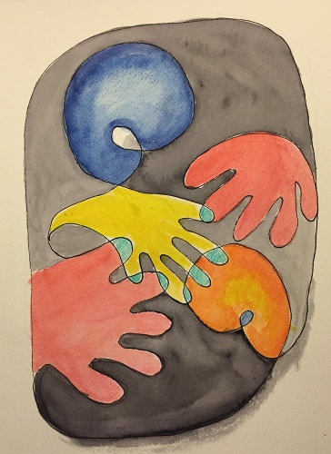 Watercolor: Abstract - Hands and Brains