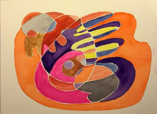 Watercolor: Abstract with Embedded Symbols