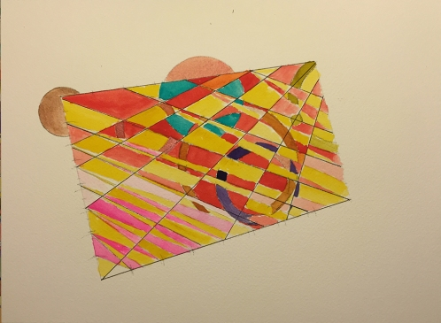 Watercolor: Abstract - Modified Grid with Curves