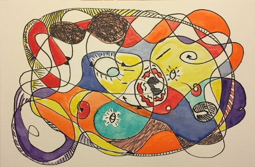 Watercolor and Pen and Ink Sketch - Abstract After Miró