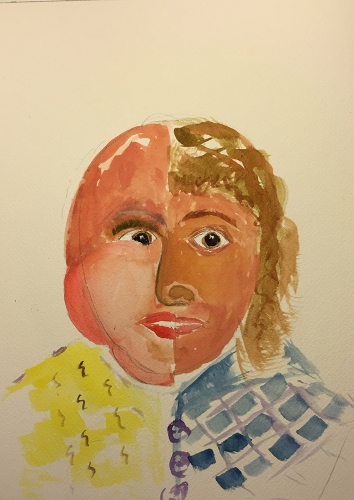 Watercolor: Portrait Before and After Radiation