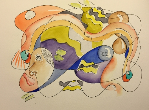 Watercolor and Line Drawing - Attempt to Communicate