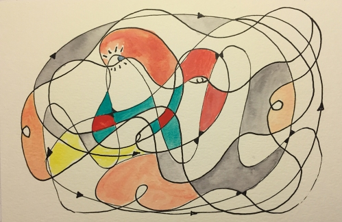 Watercolor Pen and Ink Study: Free Form ala Miró