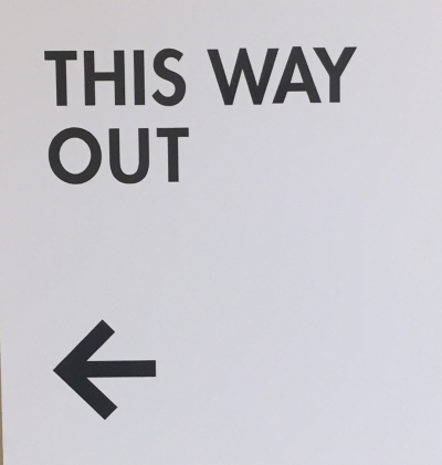 Photograph: Hospital 'This Way Out' Sign