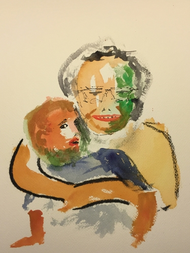 Watercolor: Abstract - Mike and Mom Portrait Final