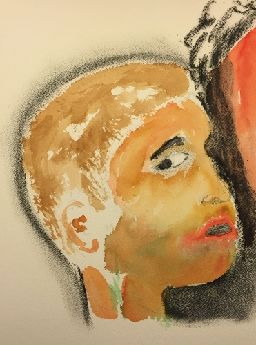 Watercolor and Charcoal: Portrait of Mike as a Boy