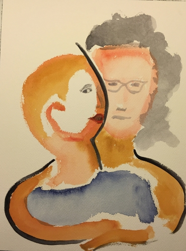 Watercolor: Mike and Mom with Dividing Shadow