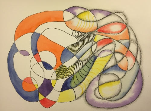 Watercolor: Abstract Free Form, Half with Edges and Half Without