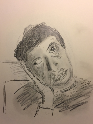 Pencil Sketch: Portrait, Mike Crying