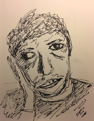 Pen an Ink Sketch: Portrait, Mike Crying