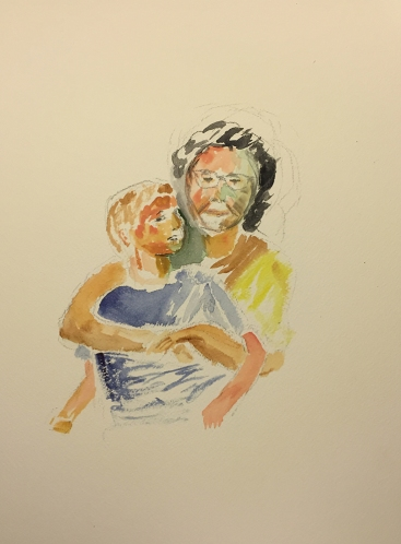 Watercolor: Mike and Mom Portrait