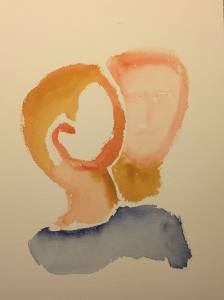 Watercolor: Abstract - Mike and Mom Portrait from Sketch