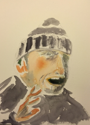Watercolor: Portrait - Walk with Mike (and Hand)