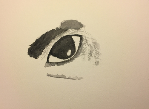 Watercolor: Sad Eye, Extracted from Crying Mike Photo