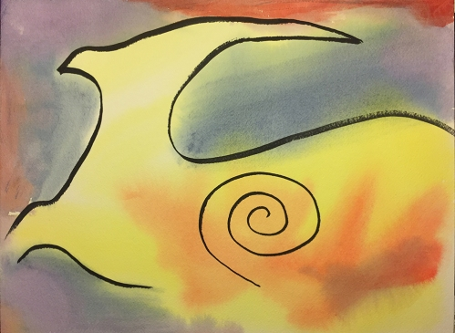 Watercolor: Abstract 101616 - Silhouette