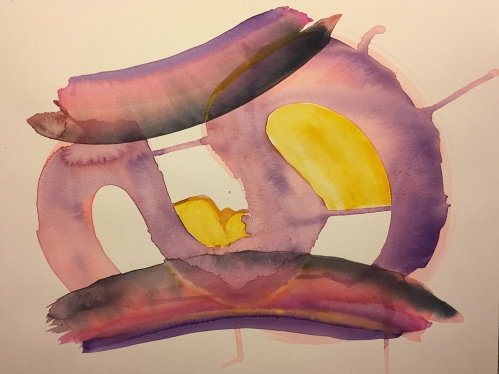 Watercolor: Abstract - Purple and 'S' Shapes