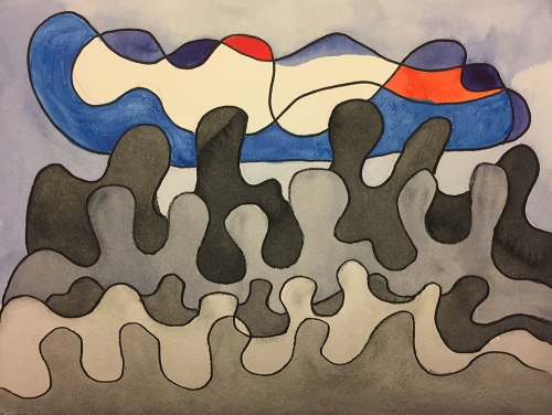 Watercolor: Abstract -Gathering at the Bedside