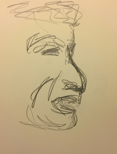 Pencil Sketch: Portrait of Upset Mike