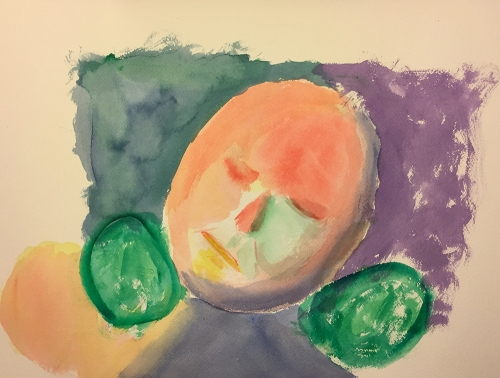 Watercolor: Portrait - Resting on Neck Pillow Just Before Wakening