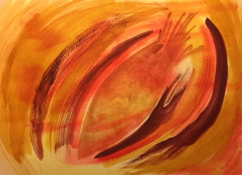 Watercolor: Abstract - Orange Swirls