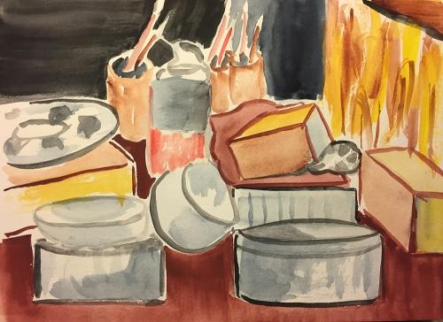 Watercolor: Studio Desk, Cleaned Up