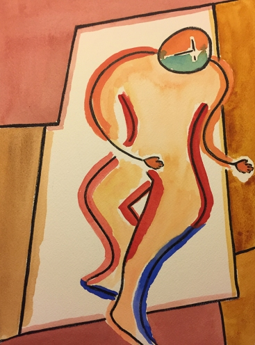 Watercolor: Abstract Expressionist Figure