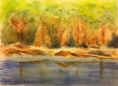 Watercolor: Abstract Expression - Cool Forest by a Lake