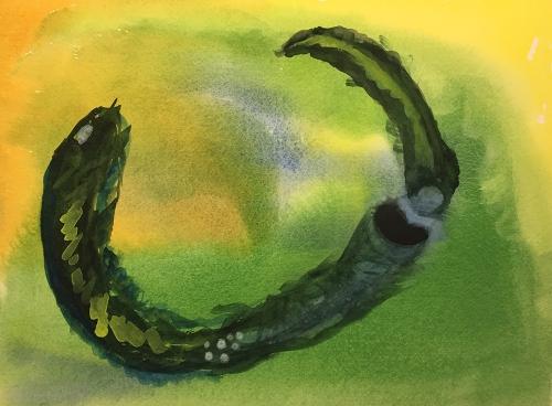 Watercolor: Dream Image - Newborn Worm