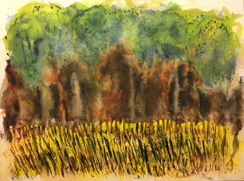 Watercolor: Abstract Expression - Cool Forest by a Field