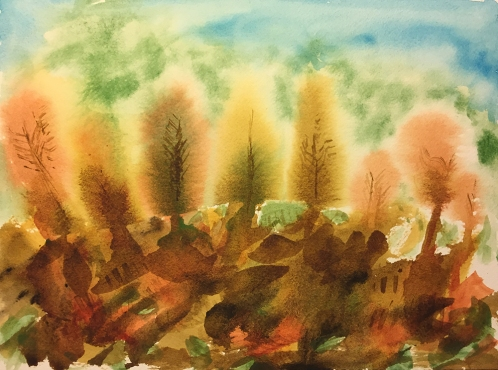 Watercolor: Abstract - Landscape with Rocks