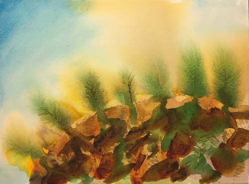 Watercolor: Abstract - Landscape with Fire