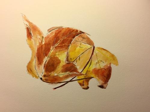 Watercolor: Pair of Leaves, Sketch